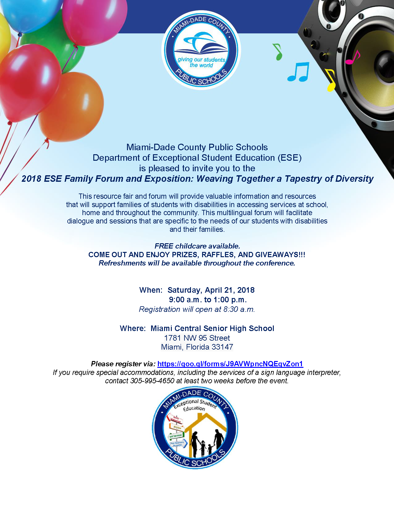 2018 Exceptional Student Education (ESE) Family Forum and Exposition: Weaving Together a Tapestry of Diversity @ Miami Central Senior High School | Miami | Florida | United States
