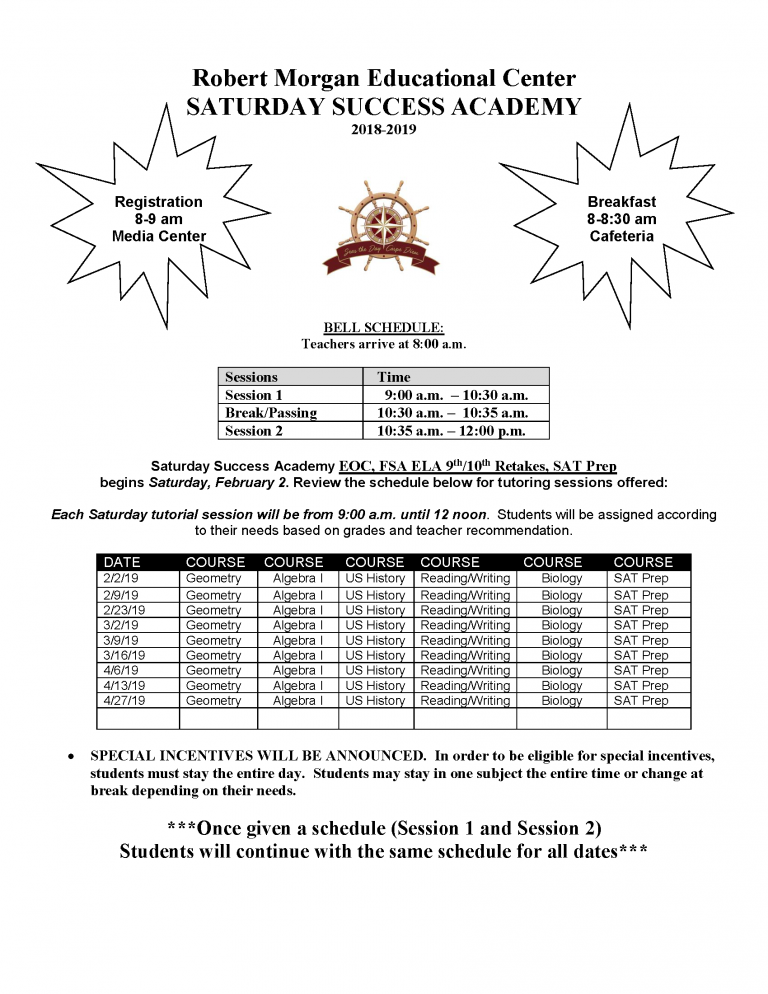 Saturday School Tutoring Flyer 2018-2019