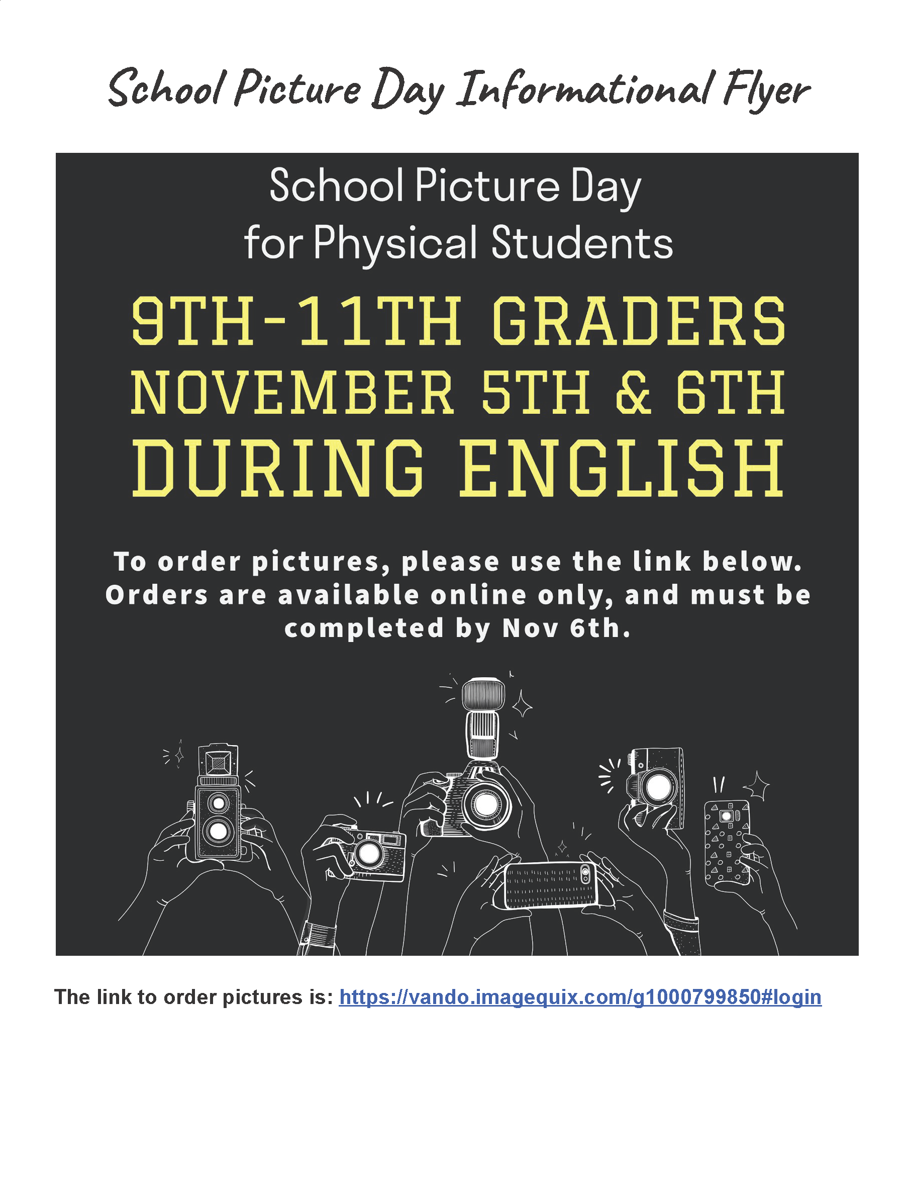 Picture Day for Students attending in Person @ During English